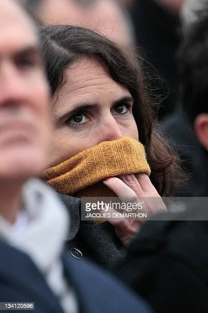 The daughter of former French president François Mitterrand and his mistress Anne Pingeot Mazarine Pingeot attends the funeral of France's former...