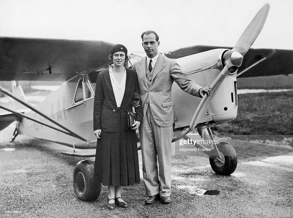 The Daughter Of King Ferdinand 1St, Princess Ileana Of Romania With Her Husband Archduke Anton Of Austria-Tuscany, Before The Plane They Had Just Bought At The Stag Lane Airfield Near London On August 19, 1931.