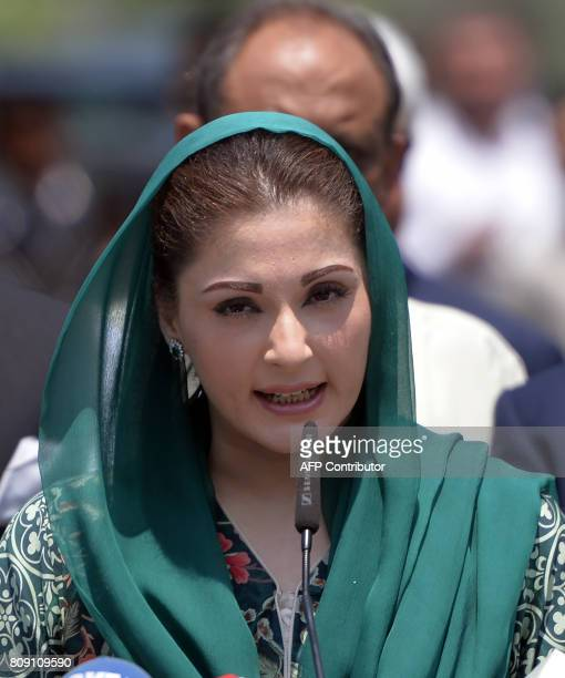 The daughter of Pakistani Prime Minister Nawaz Sharif Maryam Nawaz speaks to media after appearing before an anticorruption commission at the Federal...