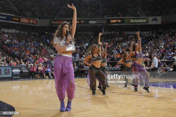 The daughter of Sacramento Kings owner Vivek Ranadive Anjali Ranadive entertains the fans during halftime of the Los Angeles Lakers against the...