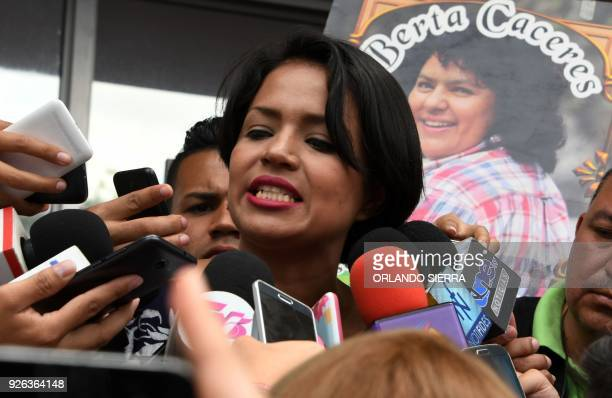 The daughter of the late activist Berta Caceres and deputy for the Libertad y Refundacion party Olivia Caceres Zuniga speaks with the press during a...