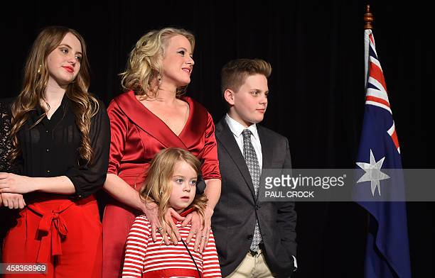 The daughter of the Leader of the Australian Labor Party Bill Shorten Georgette his wife Chloe his daughter Clementine and son Rupert watch as he...