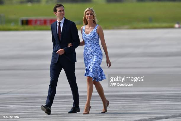 The daughter of US President Donald Trump Ivanka Trump and her husband White House senior advisor Jared Kushner make their wave from Air Force One to...