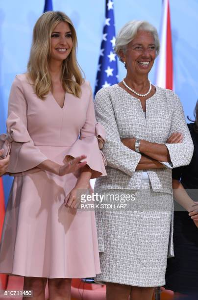 the daughter of US President Donald Trump Ivanka Trump and Managing Director of the International Monetary Fund Christine Lagarde attend the panel...