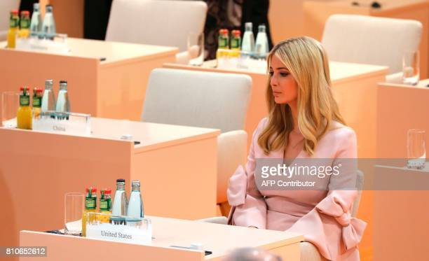 the daughter of US President Donald Trump Ivanka Trump sits at the beginning of the third working session of the G20 meeting in Hamburg northern...