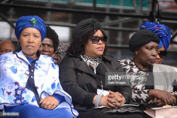 The daughters of antiapartheid activists Nelson Mandela and Winnie Madikizela Mandela Zindzi and Zenani Mandela during the official memorial service...
