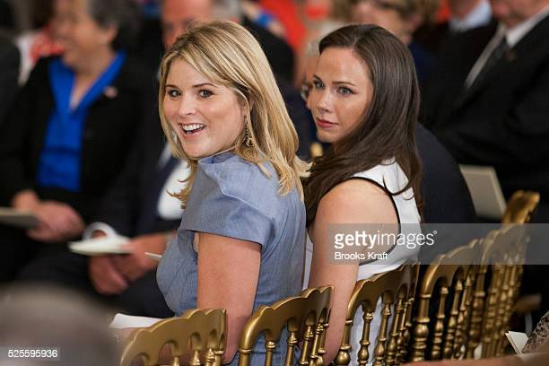 The daughters of Former President George W Bush Jenna and Barbara attend the unveiling of their parents' official portraits at a White House ceremony