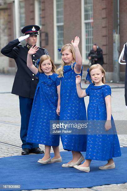 The Daughters of King Willem and Queen Maxima of the Netherlands Princess Alexia Princess Catharina Amalia and Princess Ariane leave the Nieuwe Kerk...