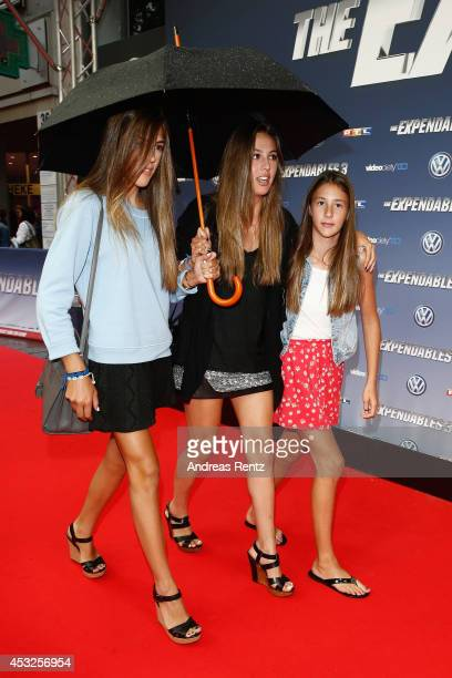 The daughters of Sylvester Stallone Sistine Stallone Sophia Stallone and Scarlett Stallone attend the German premiere of the film 'The Expendables 3'...
