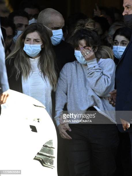 The daughters of the late Argentine football legend Diego Maradona, Dalma and Giannina, leave the Casa Rosada presidential palace at the end of the...
