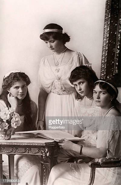 The daughters of the Tsar and Tsarina of Russia left to right Marie Tatiana Anastasia and Olga circa 1915 They and all their family were executed by...