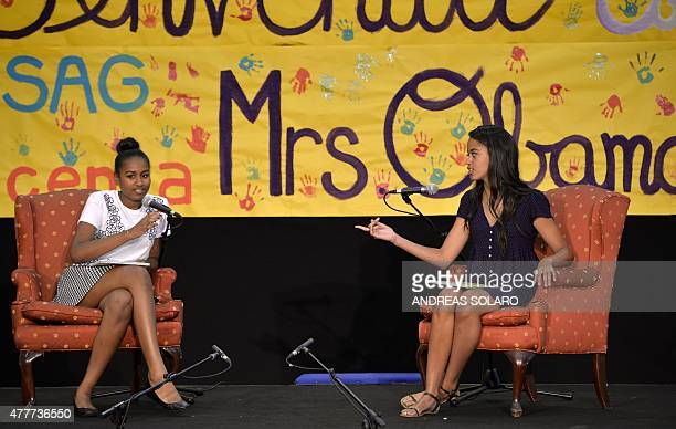 The daughters of the US president Sasha and Malia Obama read fairy tales to children at the United States and Nato military base in Vicenza on June...