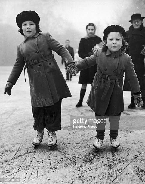 The Daughters Of Viscountess Bearsted Skate In St James Park In 1954