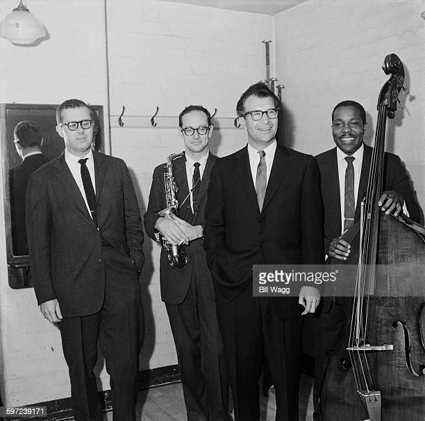The Dave Brubeck Quartet, circa 1960. From left to right, drummer Joe Morello, saxophonist Paul Desmond, pianist Dave Brubeck and double bassist...