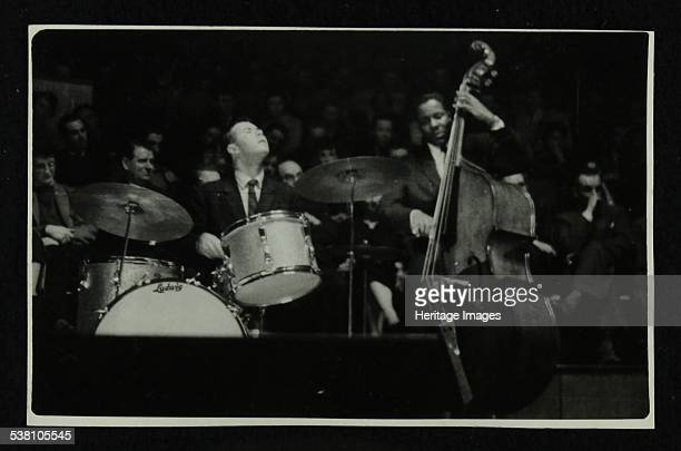 The Dave Brubeck Quartet in concert at Colston Hall Bristol 1958 Joe Morello and Eugene Wright Artist Denis Williams
