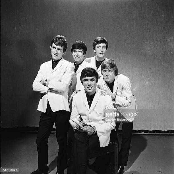 The Dave Clark Five group portrait on the set of TV show Thank Your Lucky Stars 1965 LR Rick Huxley Denis Payton Dave Clark Mike Smith Lenny Davidson