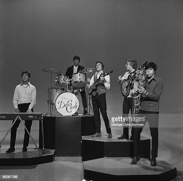 The Dave Clark Five L-R Mike Smith, Dave Clark, Rick Huxley, Lenny Davidson and Denis Peyton rehearse for an appearance on the TV show Shindig circa...