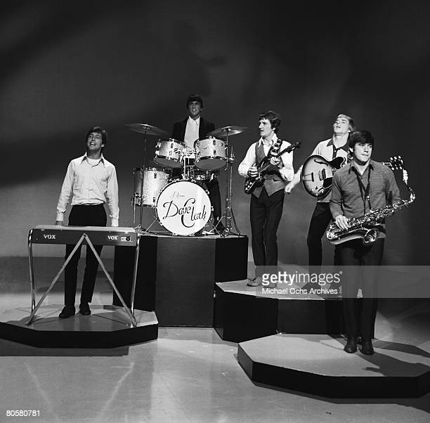 The Dave Clark Five LR Mike Smith Dave Clark Rick Huxley Lenny Davidson and Denis Peyton rehearse for an appearance on the TV show Shindig circa 1965...