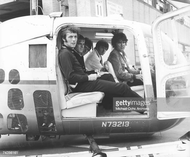 The Dave Clark Five pose for a portrait in a helicopter in circa 1968. Mike Smith, Lenny Davidson, Rick Huxley, Denis 'Denny' Payton, Dave Clark.