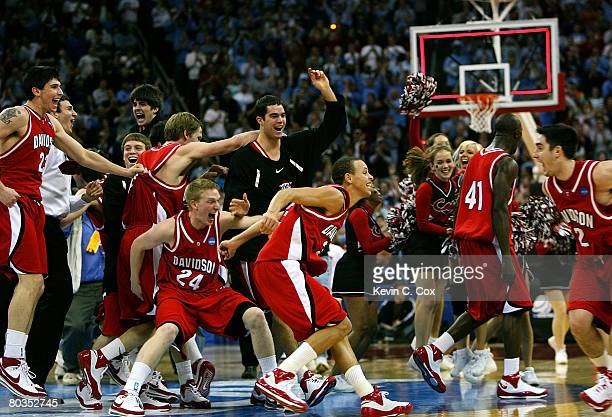 The Davidson Wildcats celebrate after defeating the Georgetown Hoyas 74-40 during the 2nd round of the 2008 NCAA Men's Basketball Tournament at RBC...