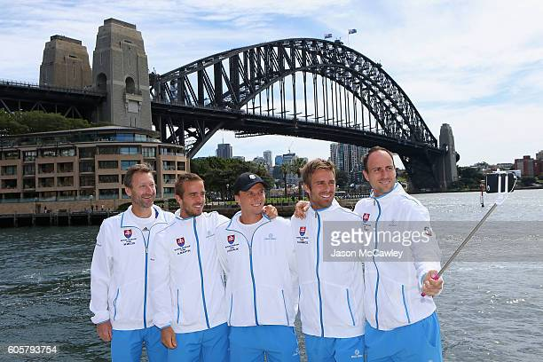The Davis Cup team of Slovakia take a selfie prior to the Davis Cup World Group Playoff Australia v Slovakia Official Draw at Circular Quay on...