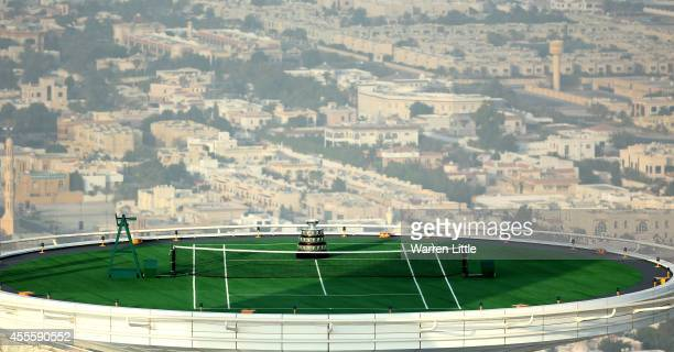 The Davis Cup Trophy is displayed at a unique location at the Burj Al Arab Jumeirah helipad on September 17 2014 in Dubai United Arab Emirates As...