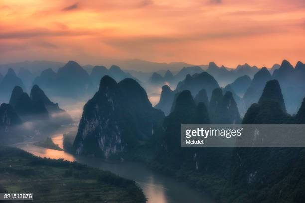 The dawn at Xianggang hill, the famous viewpoint of Guilin, China