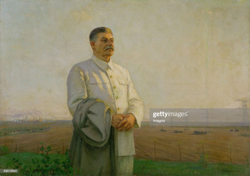 The dawn of our Fatherland, 1949 (Portrait of Joseph Stalin) by Fyodor Shurpin Canvas. (Photo by Imagno/Getty Images) [Sonnenuntergang in unserem Vaterland, 1949. Portrait von Josef Stalin von Fjodor Schurpin. Gemaelde.]