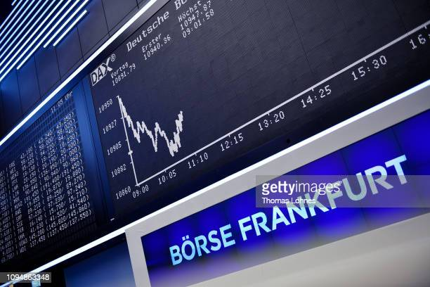 The DAX index curve at the Frankfurt Stock Exchange is seen the day after a large majority of MPs in the British House of Commons rejected British...