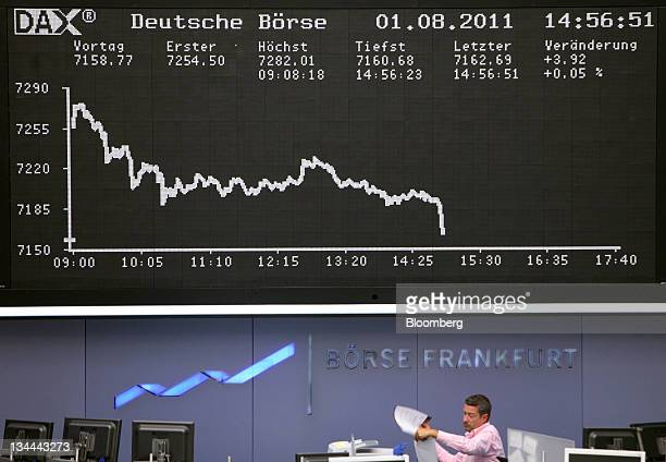 The DAX index curve is displayed at the Frankfurt Stock Exchange in Frankfurt Germany on Monday Aug1 2011 Stocks and oil gained while the cost of US...