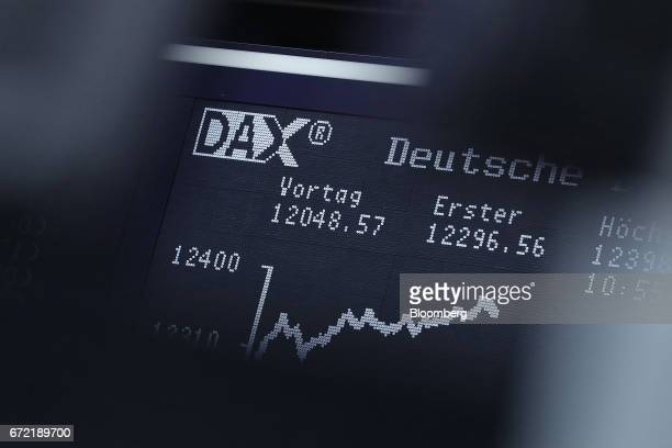 The DAX index curve is displayed inside the Frankfurt Stock Exchange in Frankfurt Germany on Monday April 24 2017 Frances bonds jumped with the...