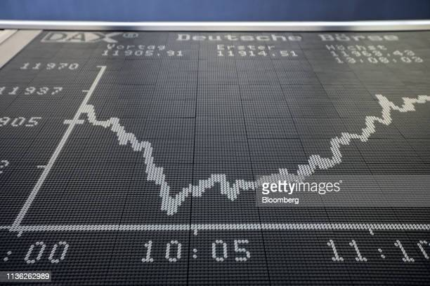The DAX Index curve sits on display inside the Frankfurt Stock Exchange, operated by Deutsche Boerse AG, in Frankfurt, Germany, on Thursday, April...