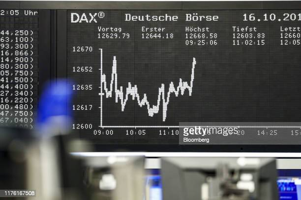 The DAX index curve sits on display inside the Frankfurt Stock Exchange, operated by Deutsche Boerse AG, in Frankfurt, Germany, on Wednesday, Oct....