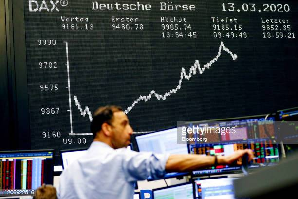 The DAX Index curve sits on display inside the Frankfurt Stock Exchange, operated by Deutsche Boerse AG, in Frankfurt, Germany, on Friday, March 13,...