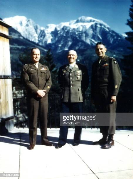 The day after his official surrender German Field Marshal Albert Kesselring poses with American Major General Maxwell D Taylor and Brigadier General...