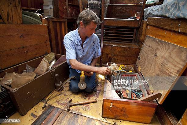 The day after returning from 1152 days at sea at the helm of his handbuilt weathered wooden 70 foot schooner Anne American sailor Reid Stowe puts...