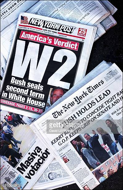 The day after the Election Day in New York United States on November 03 2004 The covers of the newspapers