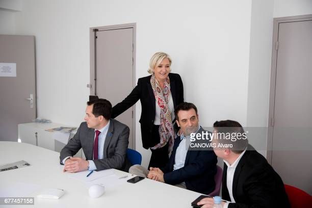 the day after the first round of the 2017 presidential election Marine LE PEN at his campaign headquarters in the Rue du FaubourgSaintHonoré after...