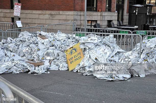 CONTENT] The day after the Marathon bombing blanket usually handed out to runners at the end of the race were in piles unused