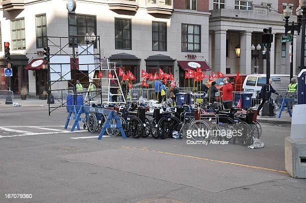 CONTENT] The day after the Marathon bombingwheelchairs sit on a side street