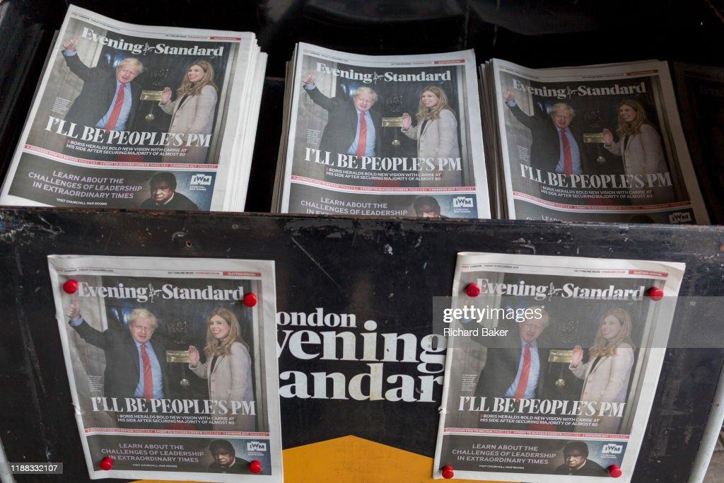 Boris Johnson Election Victory News Headline : Nieuwsfoto's