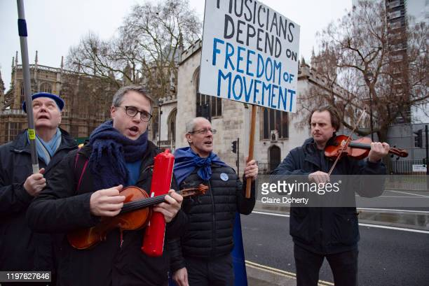 The day before Brexit Day, pro remain supporters from campaign group Sodem, gather for a party to celebrate being part of the European Union, outside...
