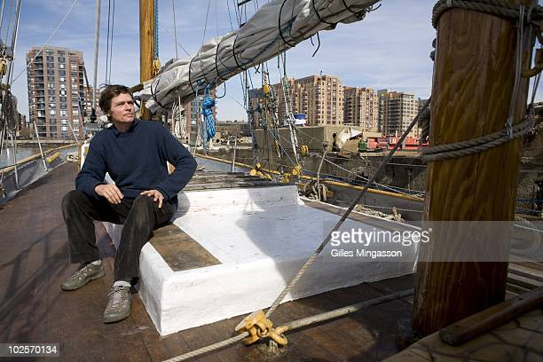 The day before setting sail for the world's longest sea voyage American sailor Reid Stowe reflects on the deck of his handbuilt wooden 70 foot...