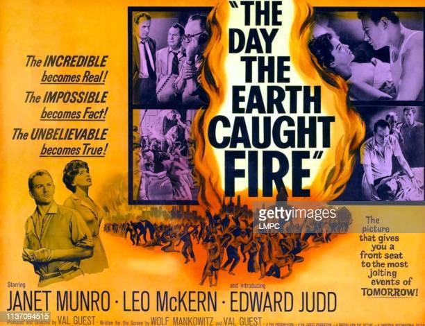 The Day The Earth Caught Fire poster bottom lr Edward Judd Janet Munro right Leo McKern in collage on poster art 1961