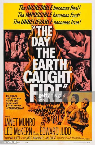 The Day The Earth Caught Fire poster Leo McKern in collage bottom lr Janet Munro Edward Judd on poster art 1961