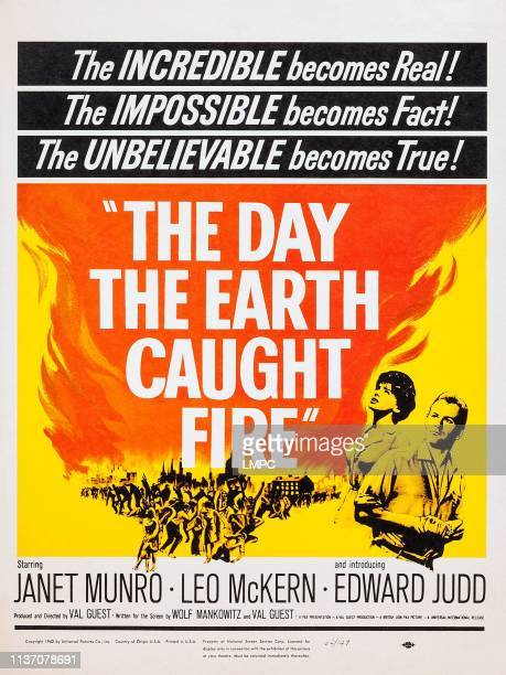 The Day The Earth Caught Fire poster lr Janet Munro Edward Judd on poster art 1961