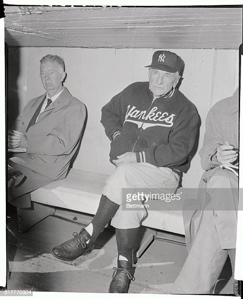 The day was cold and the outlook grim as Casey Stengel Yankee manager sat in the dugout during batting practice before the start of today's seventh...