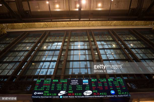 The day's numbers are displayed after the closing bell of the Dow Industrial Average at the New York Stock Exchange on February 15 2018 in New York...