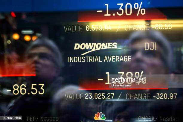 The day's numbers for the Dow Jones Industrial Average are displayed on a screen at the Nasdaq MarketSite in Times Square January 3 2019 in New York...