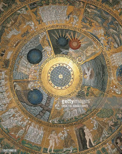The days of the creation and the story of Adam and Eve mosaic in the dome of the western narthex St Mark's Basilica Venice Italy 13th century